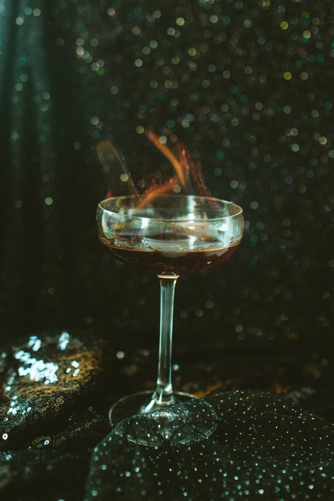 Flames on our Floo Powder Harry Potter themed cocktail