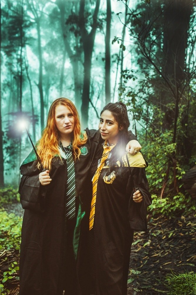 Kara (Slytherin) and Bri (Hufflepuff) in the Forbidden Forest