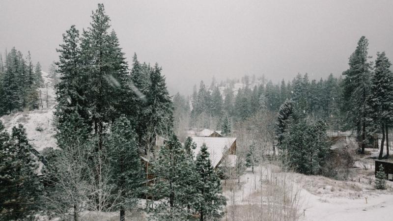 Drone view of the Sleeping Lady Mountain Resort in Leavenworth, Washington