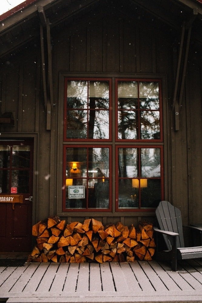 Firewood for guests at the Sleeping Lady Mountain Resort in Leavenworth, Washington