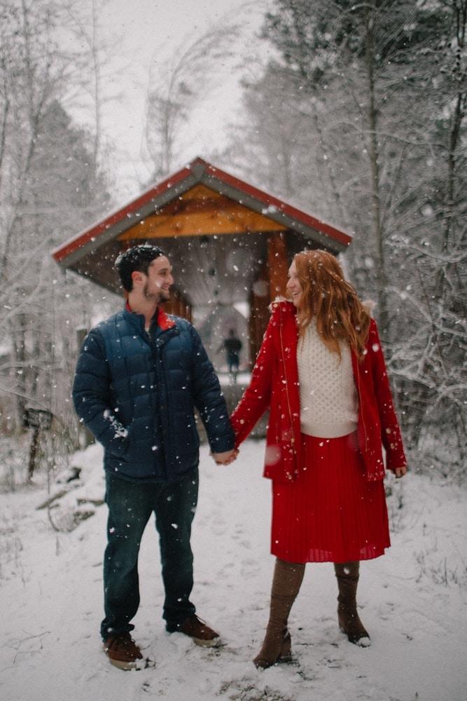Kara and Robin in the snow at the Sleeping Lady Mountain Resort in Leavenworth, Washington