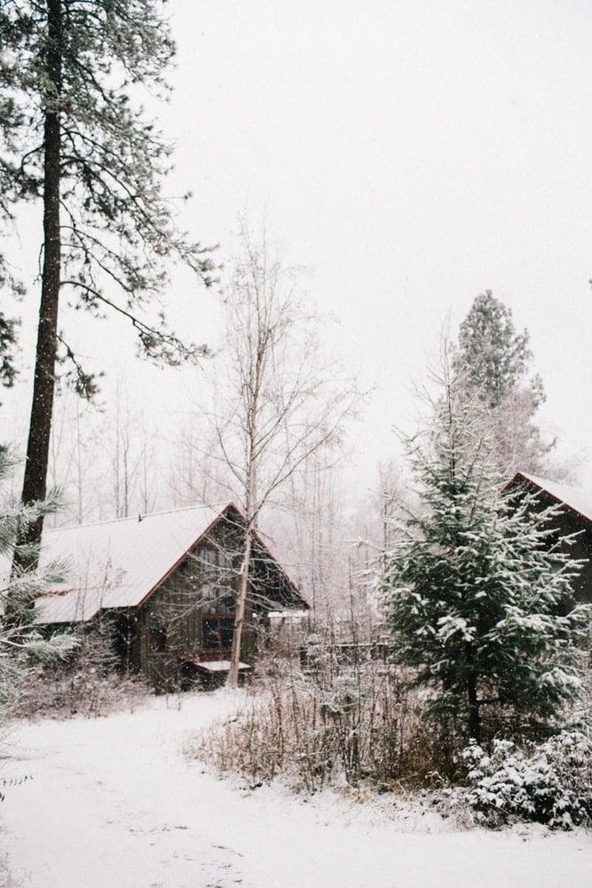 Romantic winter setting at the Sleeping Lady resort in Leavenworth, Washington