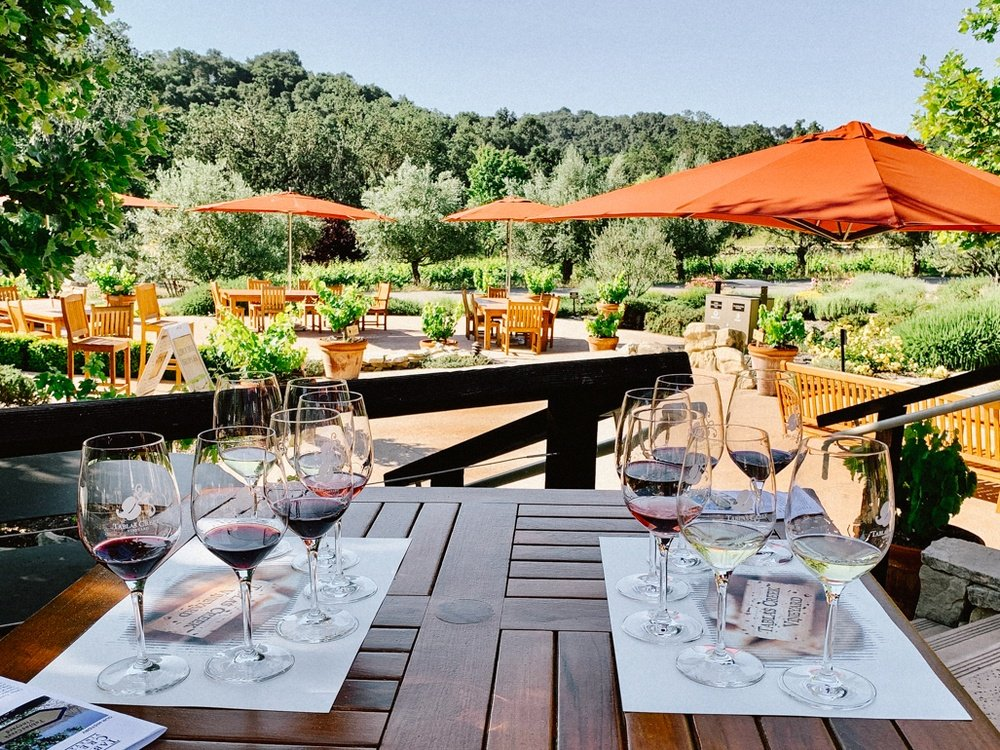 Outdoor seating at Tablas Creek Winery in Paso Robles